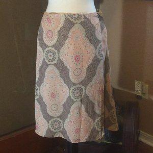 LOFT Silk Bohemian lined Faux wrap skirt